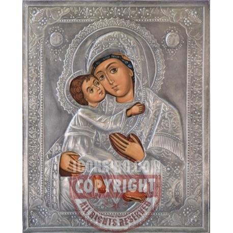 Св. Богородица Елеуса - посребрена икона от МИХАЛЕВ