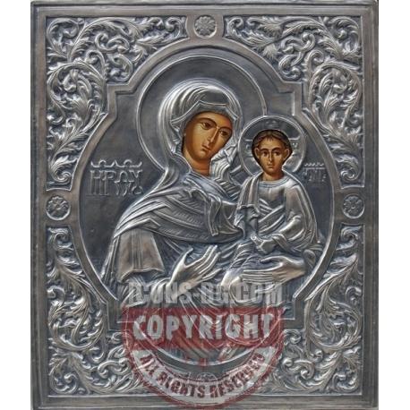 Св. Богородица Одигитрия - посребрен обков от МИХАЛЕВ