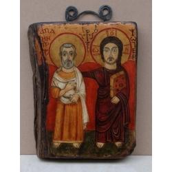 Свети Мина и Христос - коптска икона