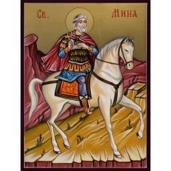Свети Мина на кон - икона рисувана от РОСЕН