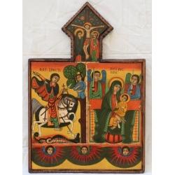 Св. Богородица, Св.Георги и ангели - етиопска икона