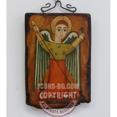 Архангел Михаил убива змея - коптска икона