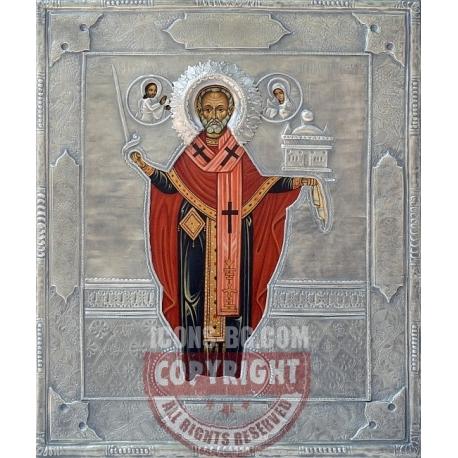 Свети Николай- икона с посребрен обков от МИХАЛЕВ
