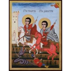 Свети Георги и Свети Димитър - икона от ДРУЖИНИН