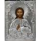Христос Вседержител - посребрена икона от МИХАЛЕВ