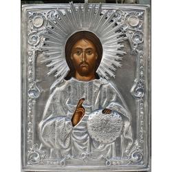 Христос Вседържител - посребрена икона от МИХАЛЕВ