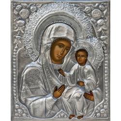 Св. Богородица Иверска - посребрена икона от МИХАЛЕВ