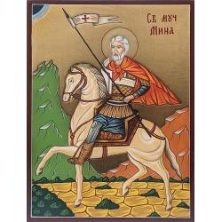 Свети Мина на кон (златен фон) - икона от РОСЕН