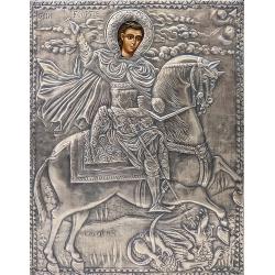 Свети вмчк. Георги Победоносец - посребрена икона от МИХАЛЕВ